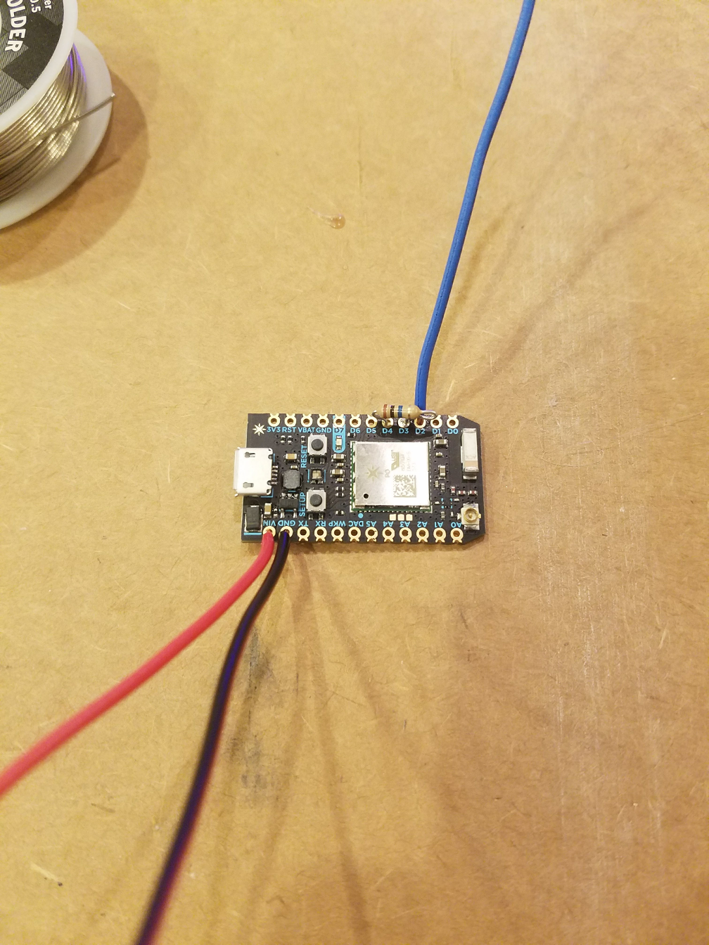Photon with components soldered on