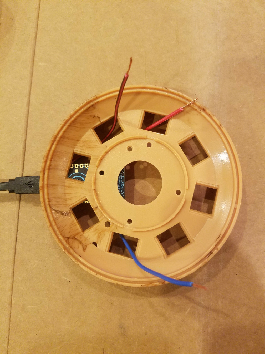 Wires thread through lamp base