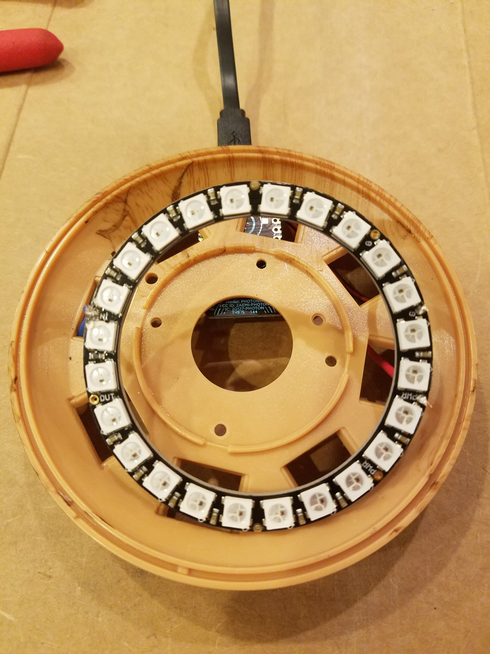 NeoPixel soldered to the Photon